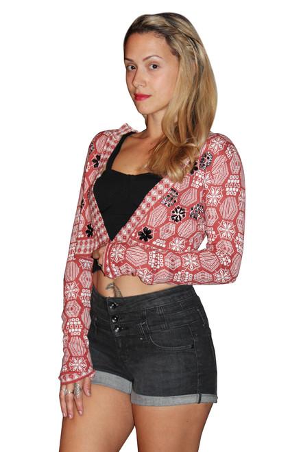 Red & White Aztec Bolero Cardigan Is 80% Cotton!