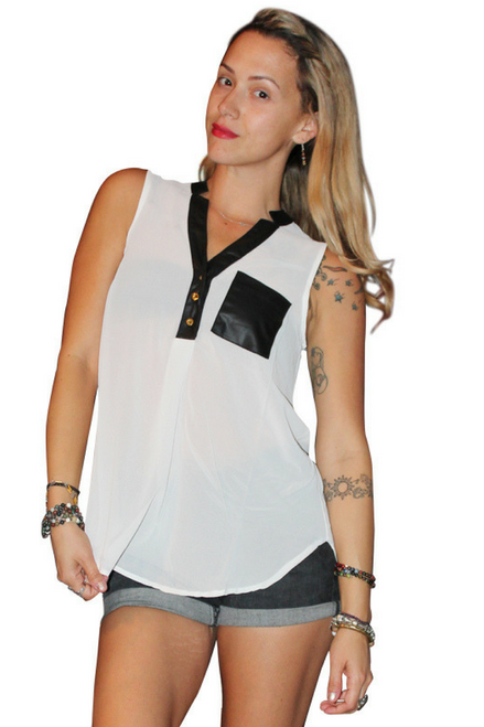 Sheer Tops With Faux Leather Trim & Pocket! White.