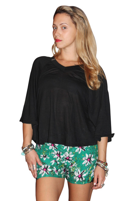 Rayon Blend V-Neck Top With Cape Sleeves! Black.