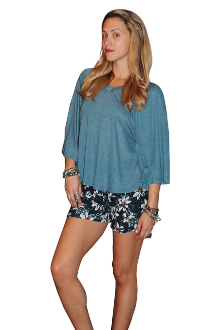 Rayon Blend V-Neck Top With Cape Sleeves! Blue.