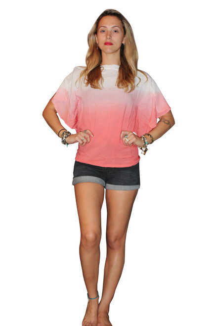 100% Cotton Coral/White Ombre Top With Cowl Neck!