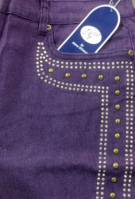 PLUS SIZE Cotton & Rayon Jeans With Stones. **Pictured in Olive, but Available in Solid Purple.
