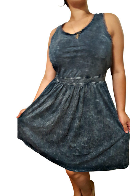PLUS SIZE 100% Cotton Dress! Denim Blue. Made In USA.