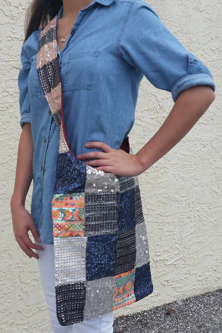 BOHO CHIC! Nepali Cross-Body Bag! Sequined Geo Pattern!