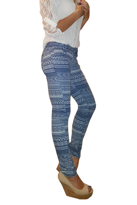 Stretch Skinny Jeans from ON TWELFTH. Blue & White Tribal.