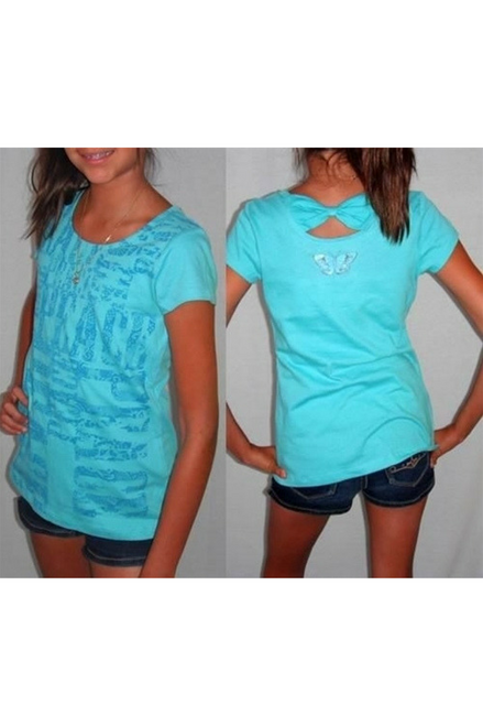 KIDS! 100% COTTON. Arizona Brand Girls Top with Cutout Back. Teal Blue.