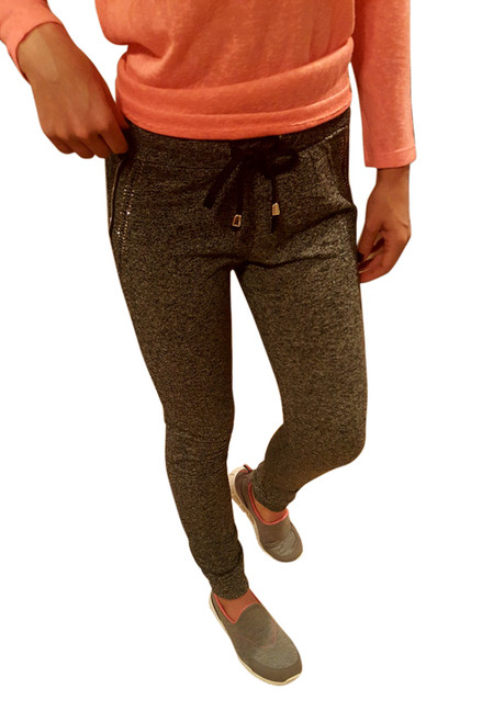 Cotton Joggers with Faux Pockets and Stones! Charcoal Grey.