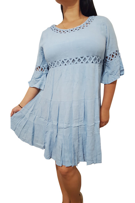 Classic Cotton Baby Blue Dress with Cutouts & Boho-Chic Sleeves!