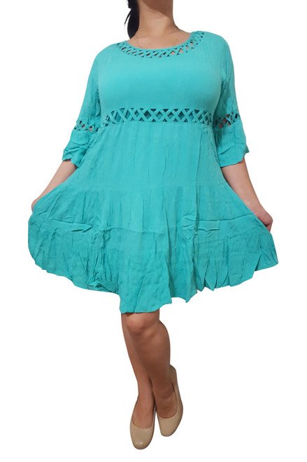 Classic Cotton Dress with Cutouts & Boho-Chic Long Sleeves! Mint/Teal.