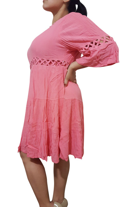 Classic Cotton Coral Dress with Cutouts & Boho-Chic Long Sleeves!