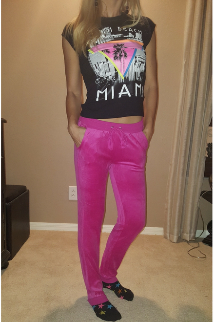 Solid Fuchsia Velour Joggers are 75% Cotton from Ultra-Flirt!