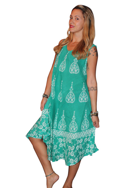 RAYON BOHO-CHIC BATIK DRESS -  GREEN! ONE SIZE (Up to Size 18).