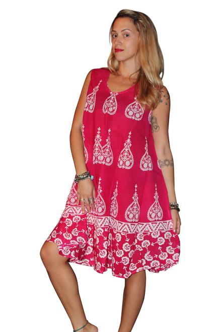 RAYON BOHO-CHIC BATIK DRESS -  RED / FUCHSIA! ONE SIZE (Up to Size 18).