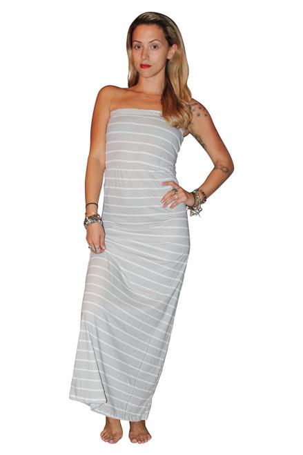 100% COTTON STRAPLESS MAXI DRESS! GREY & WHITE STRIPES.