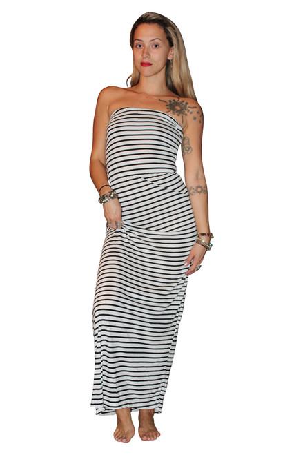 100% COTTON STRAPLESS MAXI DRESS! WHITE WITH BLACK STRIPES.