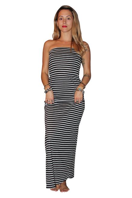 100% COTTON STRAPLESS MAXI DRESS! BLACK WITH WHITE STRIPES.