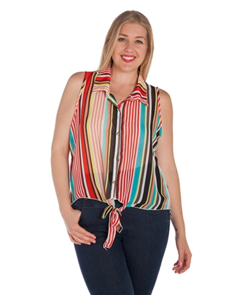 PLUS SIZE Multicolor Striped Button Down Top from CAREN SPORT!