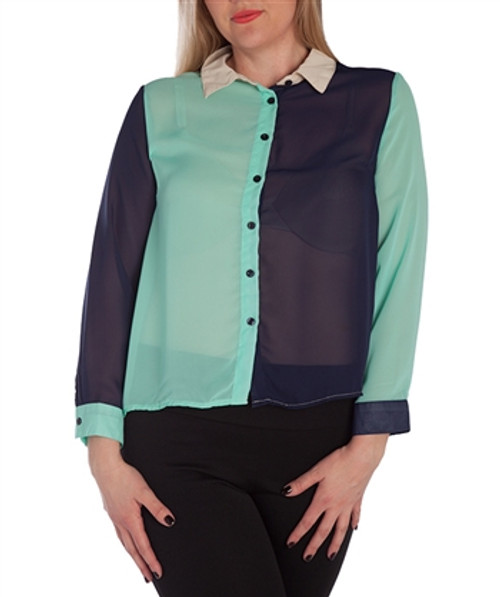 PLUS SIZE Mint Colorblock Button Down Top from CLEO!