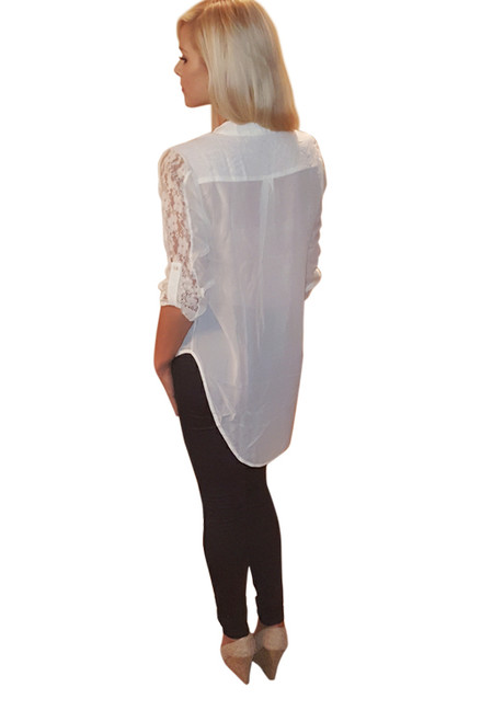 Button Down Ivory Top With Lace Sleeves From Nella Fantasia!