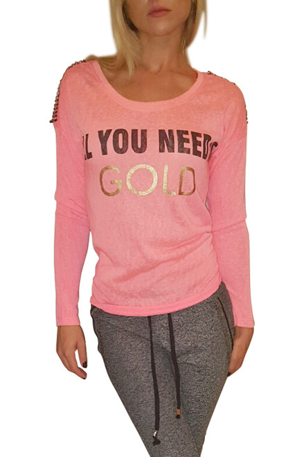 Neon Coral Long Sleeve Top: All You Need Is Gold!