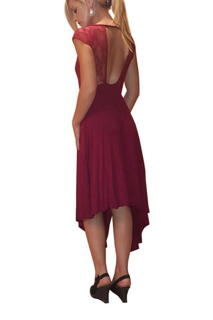 Long, Rayon Dress With Lace Accents! Crimson, Burgundy.