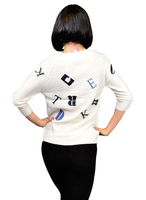 DEREK HEART! White Sweater With Alphabet Print!