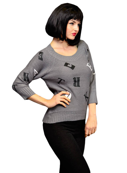 DEREK HEART! Heather Grey Sweater With Alphabet Print!