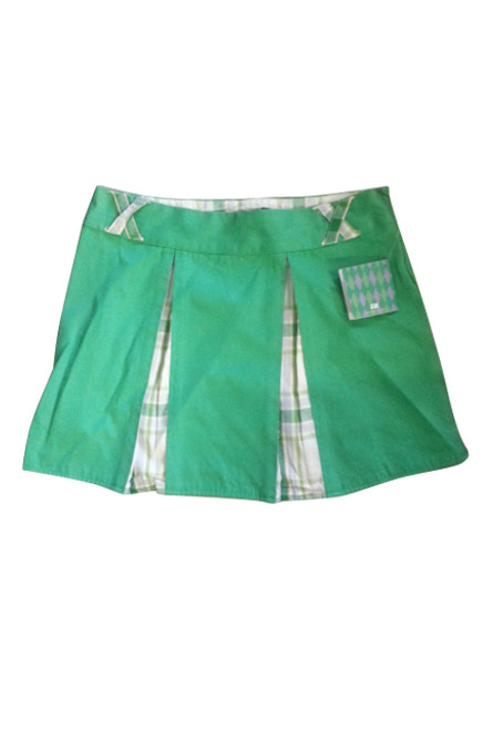 100% COTTON. PLEATED SKIRT IS GREEN WITH PLAID. BOUTIQUE BRAND: ROSASEN.
