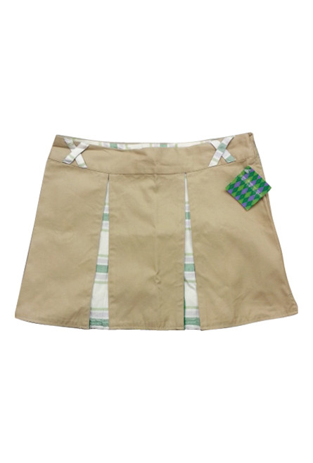 100% COTTON. PLEATED SKIRT IS KHAKI WITH PLAID. BOUTIQUE BRAND: ROSASEN.