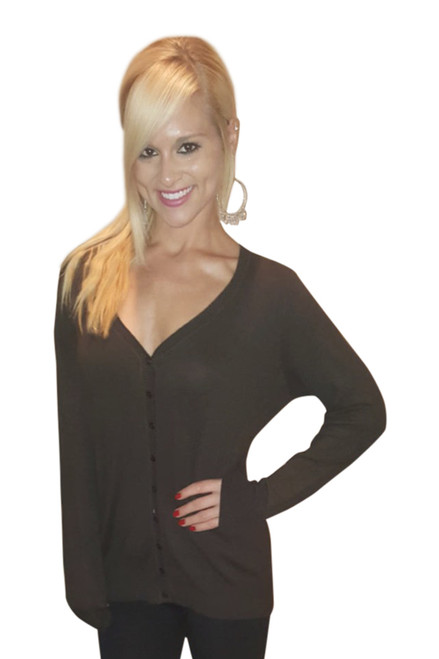 18% Cashmere! Classic Button Down Cardigan! Chocolate Brown.