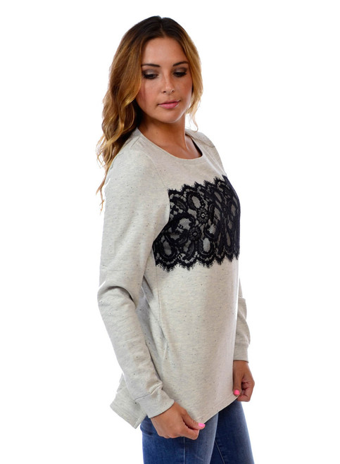 80% Cotton Sweatshirt Top with Black Lace from PAPAYA!
