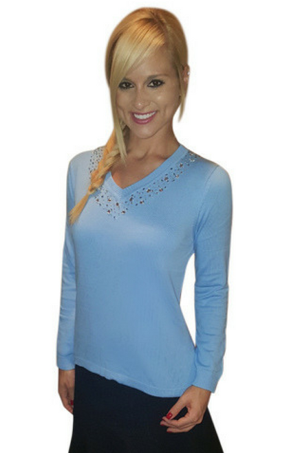 100% Cotton V-Neck Sweater With Stones! Sky Blue ...