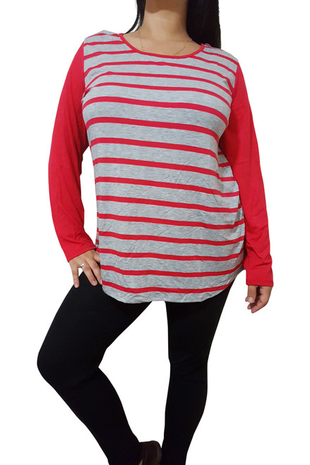 PLUS SIZE Top With Tie & Flyaway Back! Red & Grey Stripes.