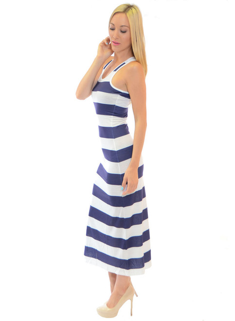 Blue & White Striped Maxi Dress from FIT2GO!