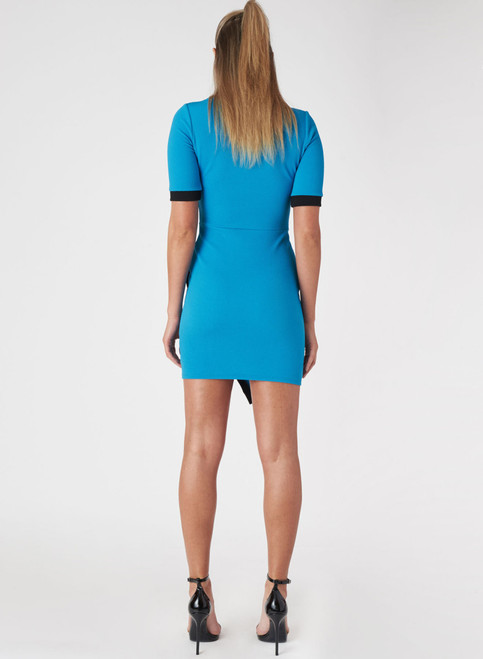 Short Sleeve Bodycon Dress. Cobalt Blue with Black Colorblock.