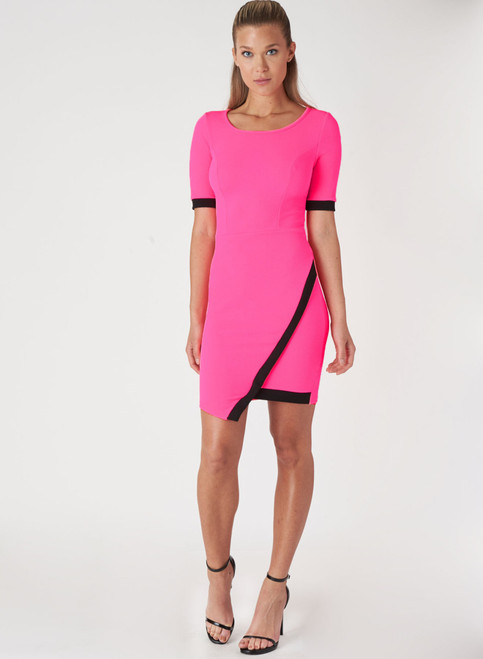 Short Sleeve Bodycon Dress. Neon Fuchsia with Black Colorblock.
