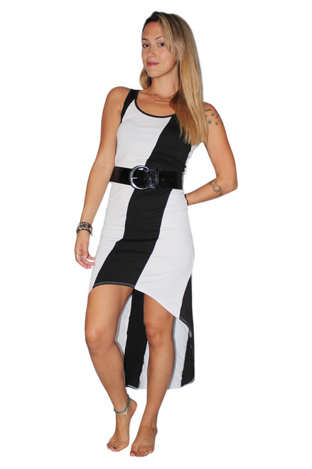 Belted, Long Dress With ColorBlock Stripe! Black/White.