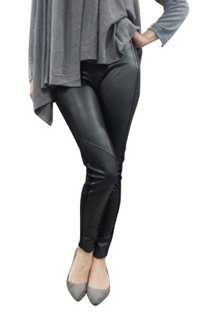 Black Skinny Pants With Vegan Leather Front!