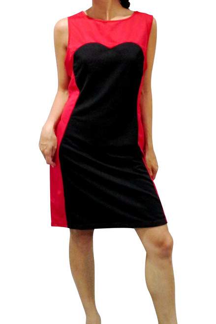 Black & Red Bodycon Dress with Sweetheart Neckline!