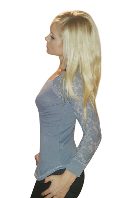 Cotton Lace Sleeve Top! Charcoal Grey.