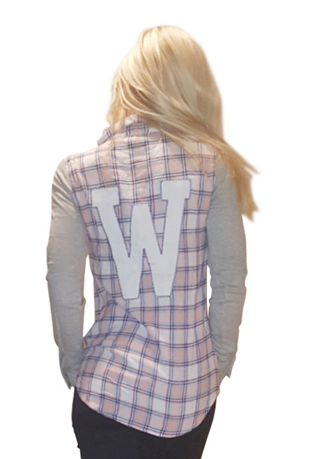 100% Cotton Peach Plaid Flannel Top!