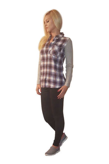 100% Cotton Black Plaid Flannel Top!