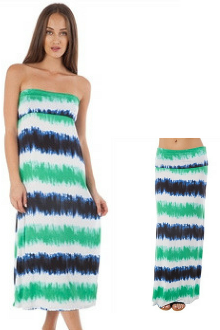 95% Rayon Maxi Dress or Skirt! Green, White, Blue.