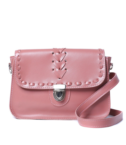 BLUSH PINK FAUX LEATHER PURSE WITH WOVEN STITCH!