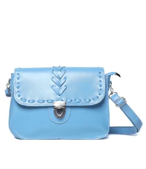 BLUE FAUX LEATHER PURSE WITH WOVEN STITCH!