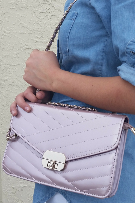 PURPLE FAUX QUILTED LEATHER PURSE WITH BRAIDED CHAIN STRAP!
