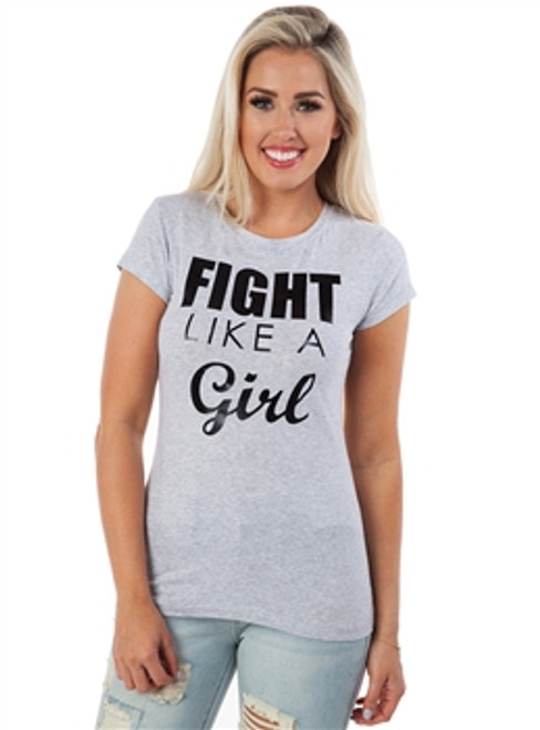 95% Cotton Long Tee: FIGHT LIKE A GIRL!