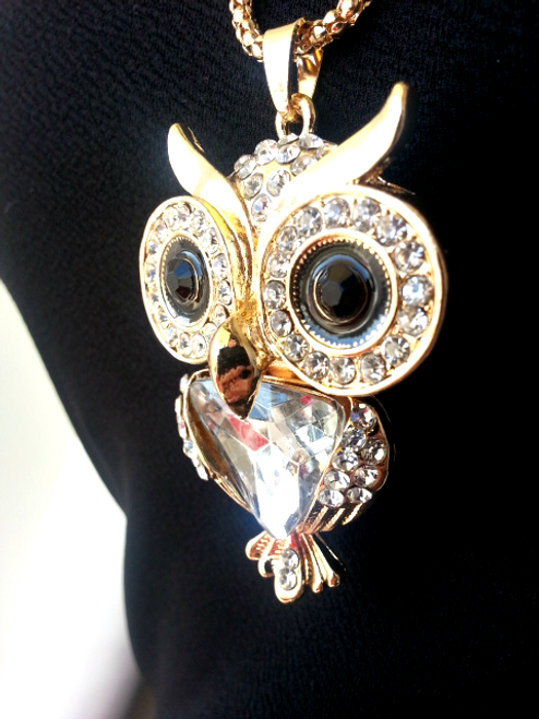 Elegant Gold Owl Necklace Set with Earrings!