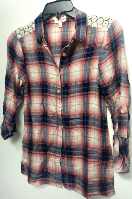 KIDS/GIRLS 100% Rayon Flannel Shirt from BG GIRLS! Coral Plaid.