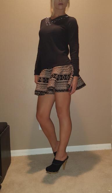 Mocha & Black Aztec Flare Skirt with Zipper Back!